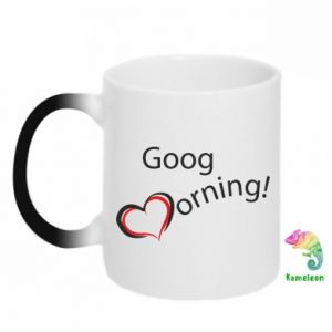 Kubek-kameleon Good morning z sercem