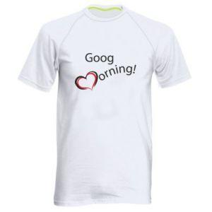 Męska koszulka sportowa Good morning z sercem