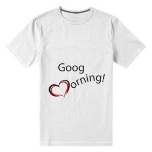 Męska premium koszulka Good morning z sercem