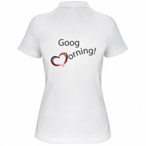 Damska koszulka polo Good morning z sercem