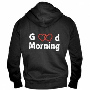 Męska bluza z kapturem na zamek Good morning
