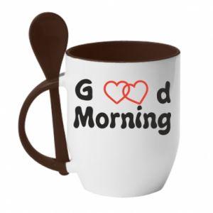 Kubek z ceramiczną łyżeczką Good morning