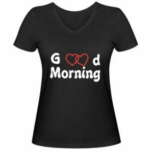 Damska koszulka V-neck Good morning