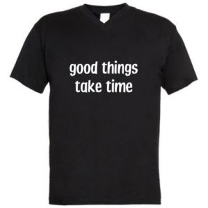 Męska koszulka V-neck Good things take time