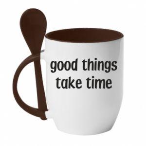 Kubek z ceramiczną łyżeczką Good things take time