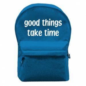 Plecak z przednią kieszenią Good things take time