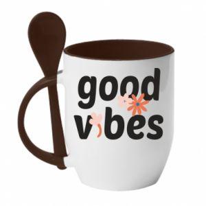 Kubek z ceramiczną łyżeczką Good vibes flowers
