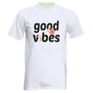 Męska koszulka sportowa Good vibes flowers