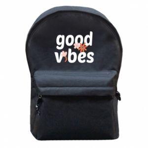 Plecak z przednią kieszenią Good vibes flowers