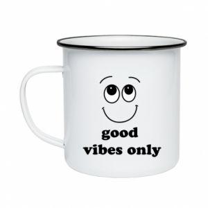 Enameled mug Good  vibes only