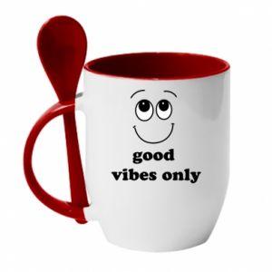Kubek z ceramiczną łyżeczką Good  vibes only