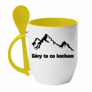 Kubek z ceramiczną łyżeczką Góry to co kocham