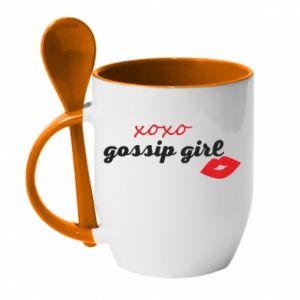 Kubek z ceramiczną łyżeczką Gossip girl