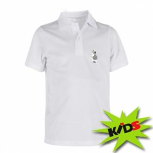 Children's Polo shirts Gray cat with big eyes - PrintSalon
