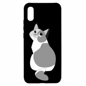 Etui na Xiaomi Redmi 9a Gray cat with big eyes