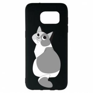 Etui na Samsung S7 EDGE Gray cat with big eyes