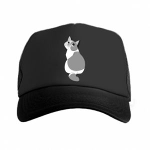 Trucker hat Gray cat with big eyes - PrintSalon