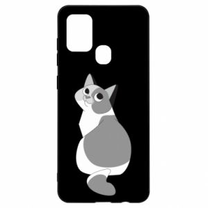 Etui na Samsung A21s Gray cat with big eyes