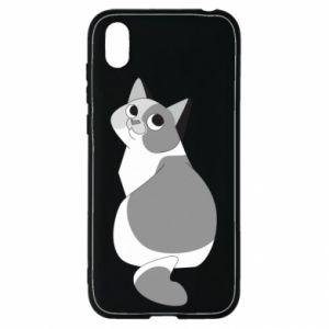 Etui na Huawei Y5 2019 Gray cat with big eyes