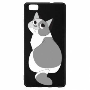 Etui na Huawei P 8 Lite Gray cat with big eyes
