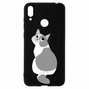 Etui na Huawei Y7 2019 Gray cat with big eyes