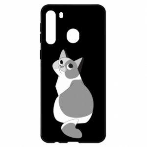 Etui na Samsung A21 Gray cat with big eyes