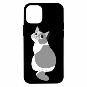 Etui na iPhone 12 Mini Gray cat with big eyes