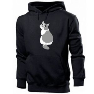 Men's hoodie Gray cat with big eyes - PrintSalon