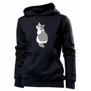 Women's hoodies Gray cat with big eyes - PrintSalon