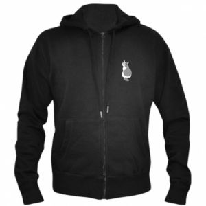 Men's zip up hoodie Gray cat with big eyes - PrintSalon
