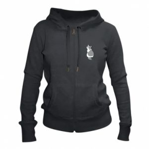 Women's zip up hoodies Gray cat with big eyes - PrintSalon