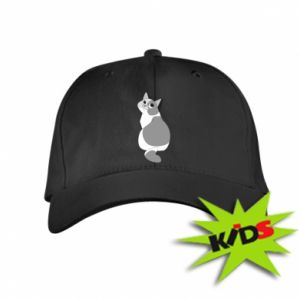 Kids' cap Gray cat with big eyes - PrintSalon
