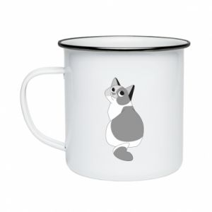 Enameled mug Gray cat with big eyes - PrintSalon