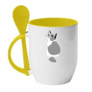 Mug with ceramic spoon Gray cat with big eyes - PrintSalon