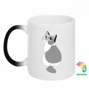 Chameleon mugs Gray cat with big eyes - PrintSalon