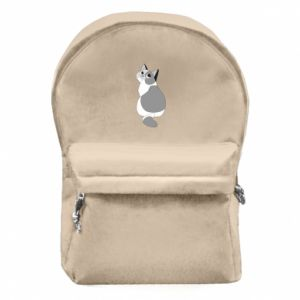 Backpack with front pocket Gray cat with big eyes - PrintSalon