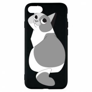 Phone case for iPhone 7 Gray cat with big eyes - PrintSalon