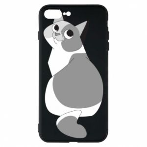 Phone case for iPhone 8 Plus Gray cat with big eyes - PrintSalon