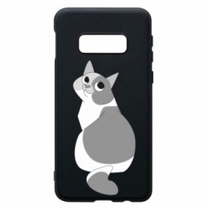 Phone case for Samsung S10e Gray cat with big eyes - PrintSalon