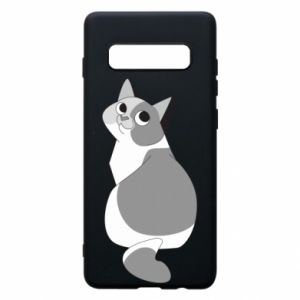 Phone case for Samsung S10+ Gray cat with big eyes - PrintSalon