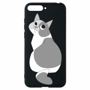 Phone case for Huawei Y6 2018 Gray cat with big eyes - PrintSalon