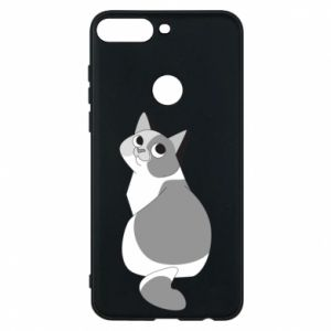 Phone case for Huawei Y7 Prime 2018 Gray cat with big eyes - PrintSalon