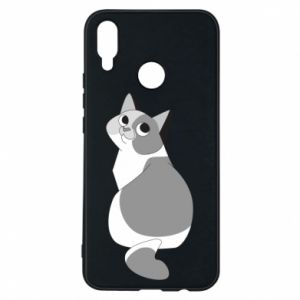 Phone case for Huawei P Smart Plus Gray cat with big eyes - PrintSalon