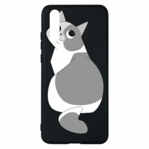 Phone case for Huawei P20 Gray cat with big eyes - PrintSalon