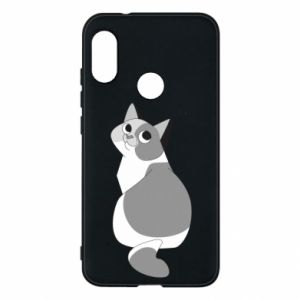 Phone case for Mi A2 Lite Gray cat with big eyes - PrintSalon