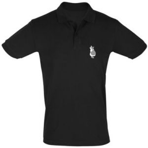 Men's Polo shirt Gray cat with big eyes - PrintSalon