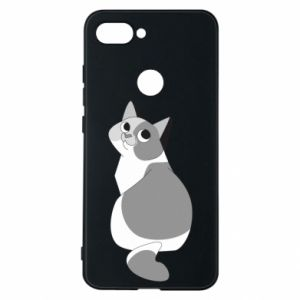 Phone case for Xiaomi Mi8 Lite Gray cat with big eyes - PrintSalon