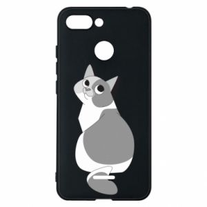 Phone case for Xiaomi Redmi 6 Gray cat with big eyes - PrintSalon