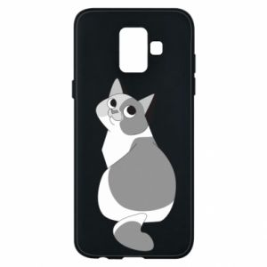 Phone case for Samsung A6 2018 Gray cat with big eyes - PrintSalon