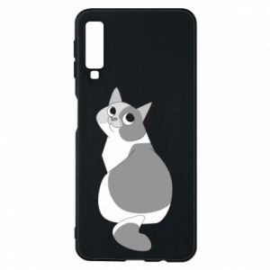 Phone case for Samsung A7 2018 Gray cat with big eyes - PrintSalon